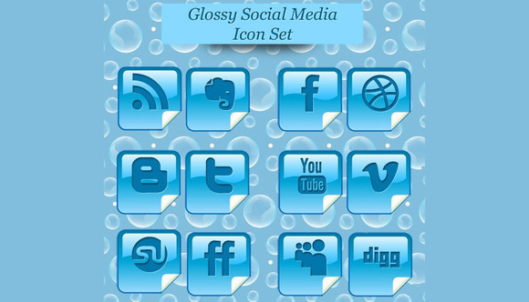 Glossy Beautiful Peel Over Social Media Icon Set