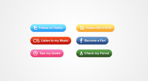 Glossy Social Buttons