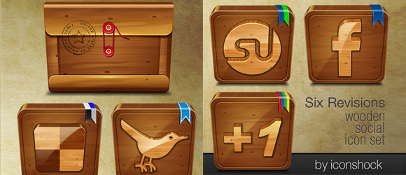 Wooden Social: Free Icon Set