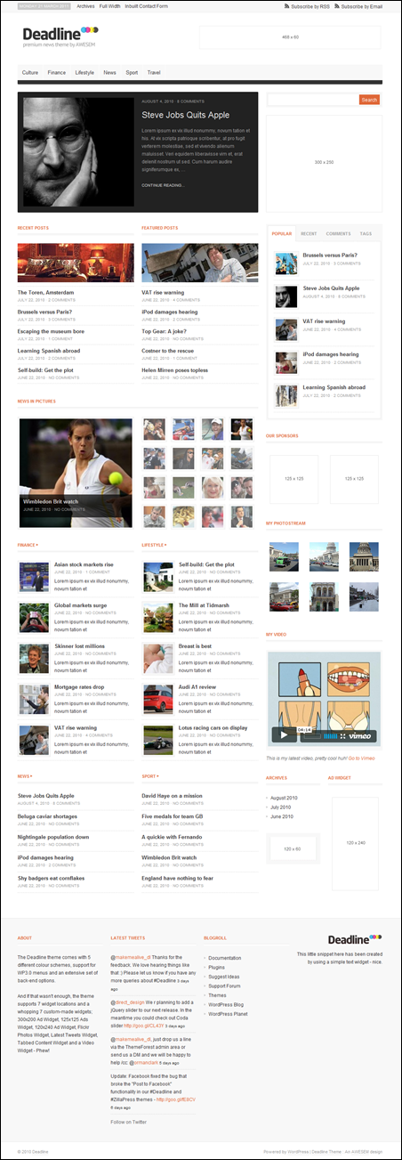 Deadline wordpress magazine theme