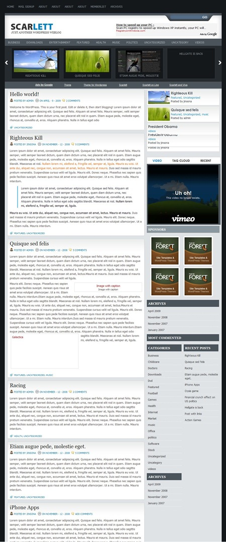 Scarlett wordpress magazine Theme
