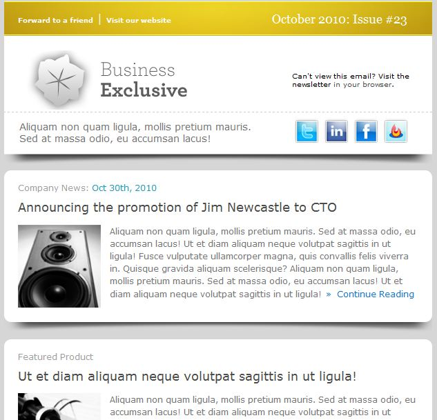 06a0Business Exclusive Modelli colorati ed accattivanti per newsletter