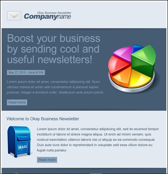 f352okey business thumb Modelli colorati ed accattivanti per newsletter