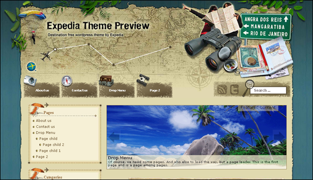 Destination - one of the beautiful travel WordPress Themes