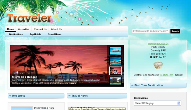 Traveler - one of the beautiful travel WordPress Themes