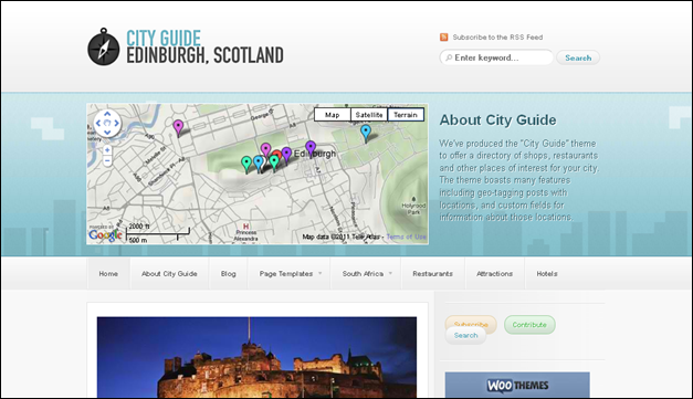 City Guide - one of the beautiful travel WordPress Themes