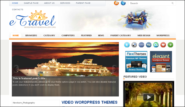 E-Travel - one of the beautiful travel WordPress Themes