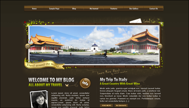 World Traveller - one of the beautiful travel WordPress Themes