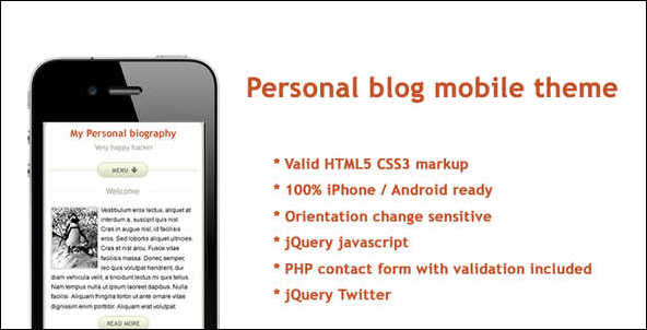 Personal blog mobile theme
