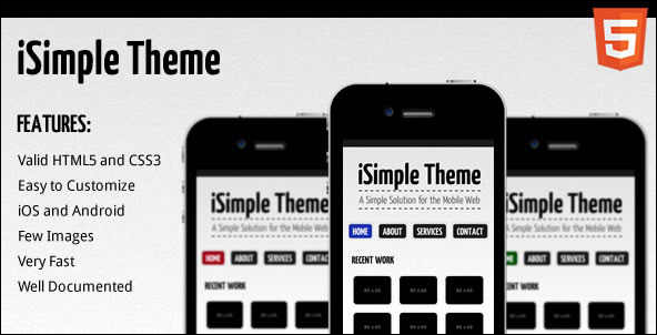 iSimple Theme Mobile Website Template