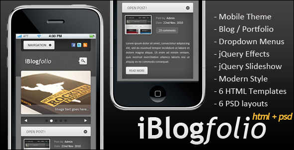 iBlogfolio HTML + PSD Mobile Website Template