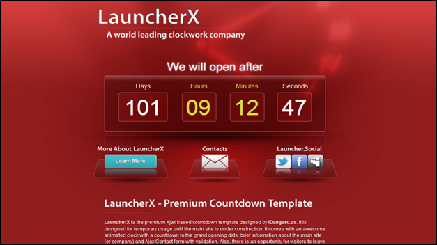 LauncherX - Countdown under contruction Template