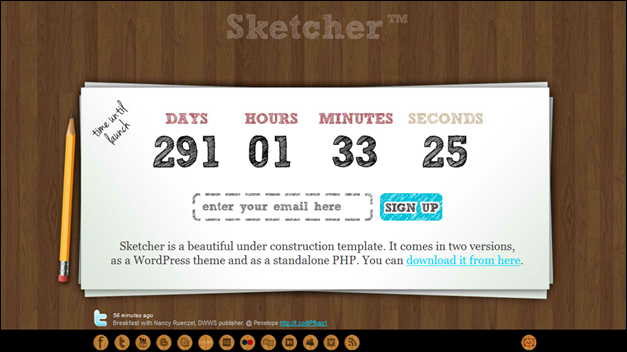 Sketcher Under Construction Template + WP Theme