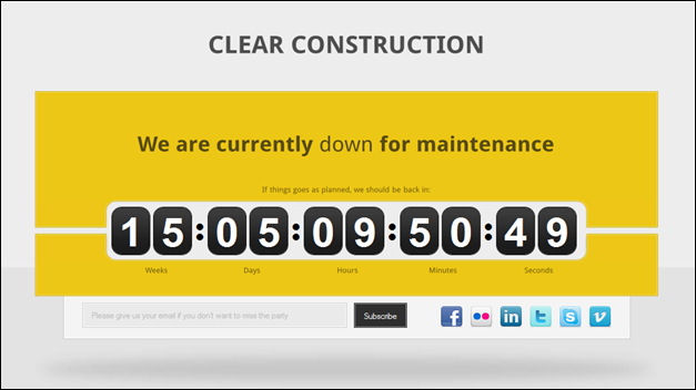 Clear under Construction template