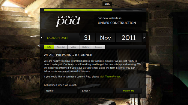 Launch Pad under construction template