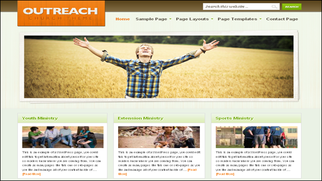 Church website templates outreach