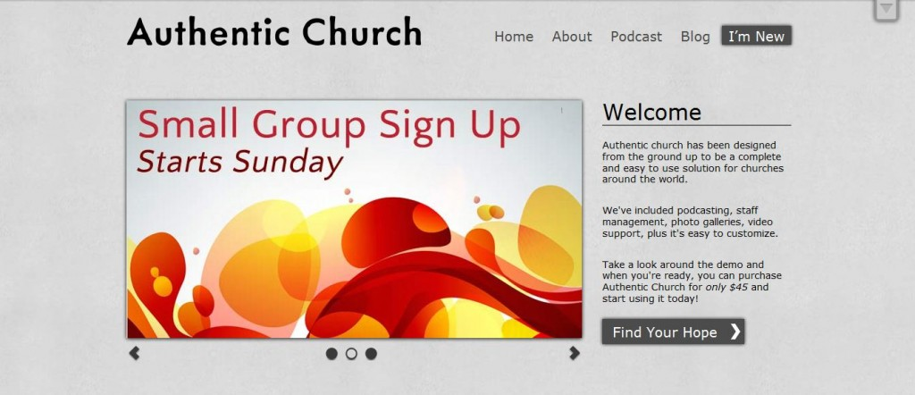 Church website templates authentic