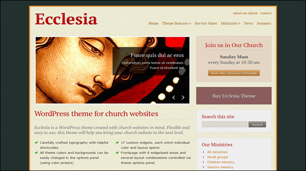 Church website templates eccleia