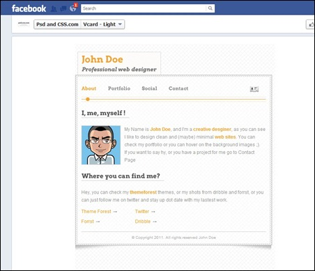 vcard-facebook-template