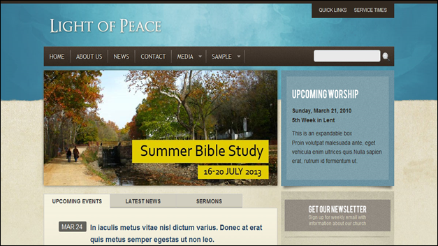 peace Church website templates