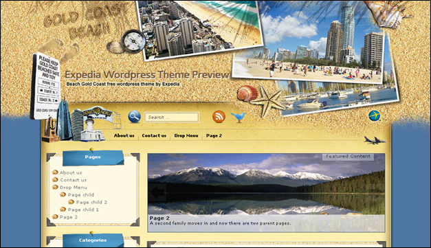 Gold Coast - one of the beautiful travel WordPress Themes