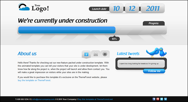 Animated Under Construction template - Twitter & Ajax forms