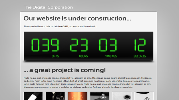 Digital Under Construction template