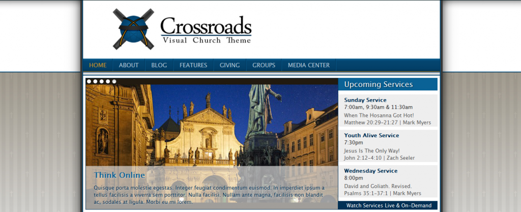 Church website templates crossroads
