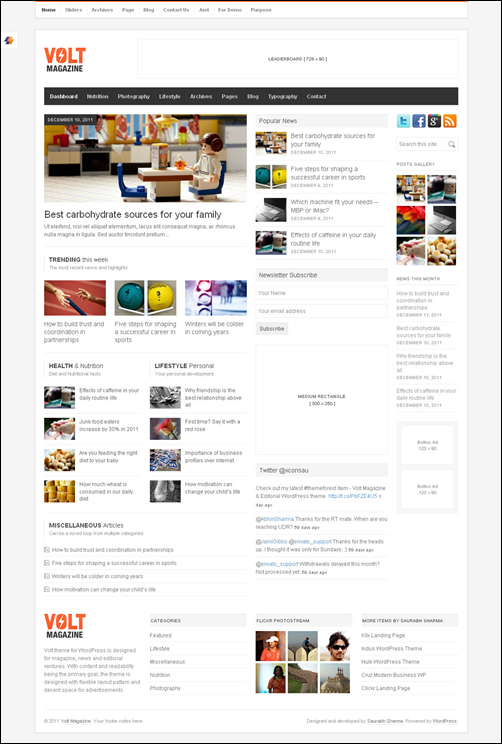 VOLT – Magazine / Editorial WordPress  News Theme