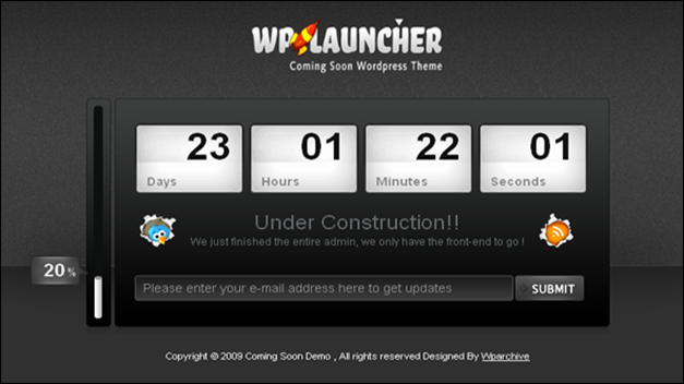 WP Launcher WordPress Theme - Free under construction template