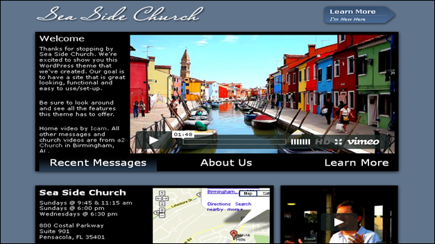 sea side Church website templates