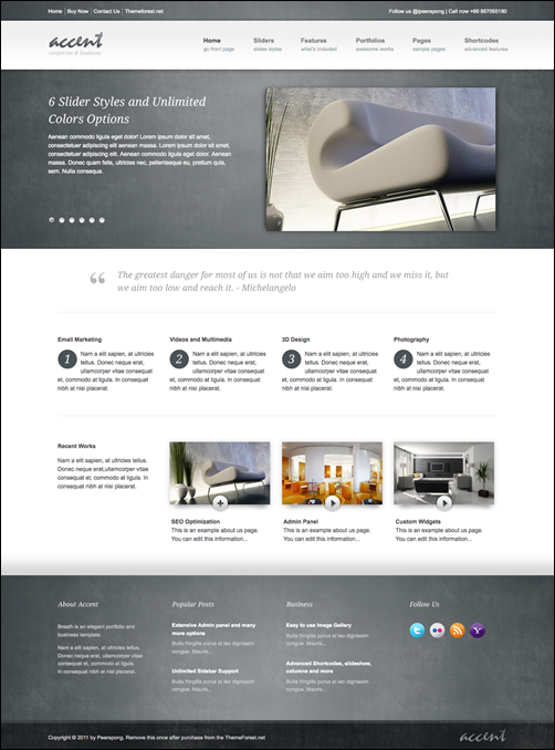 Accent Clean WP for Business Corporate Portfolio