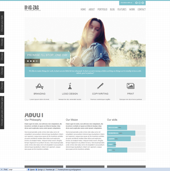 WordPress page template - zig zig