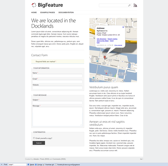 WordPress page templates  bigfeature