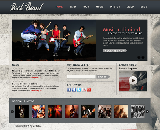 rock band-drupal-7-theme