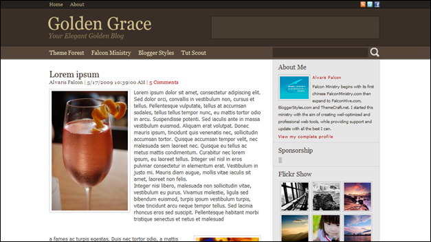 Golden Grace best blogger templates