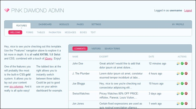 Pink Diamond admin panel template