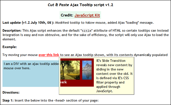 Cut & Paste Ajax Tooltip script v1.2