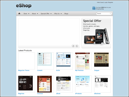 ESHOP, ecommerce layout for WordPress