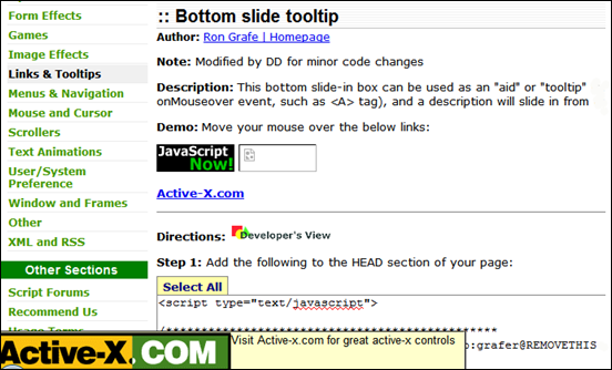 Bottom slide tooltip
