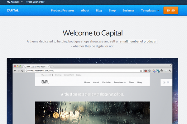 premium WordPress theme Capital eCommerce wooCommerce