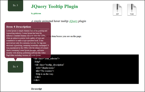 jQuery Tooltip Plugin