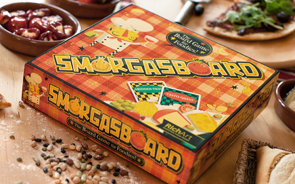 Smorgasboard cooking recipe game board tabletop box branding