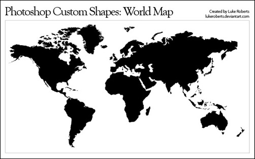 photoshop shapes world map vector