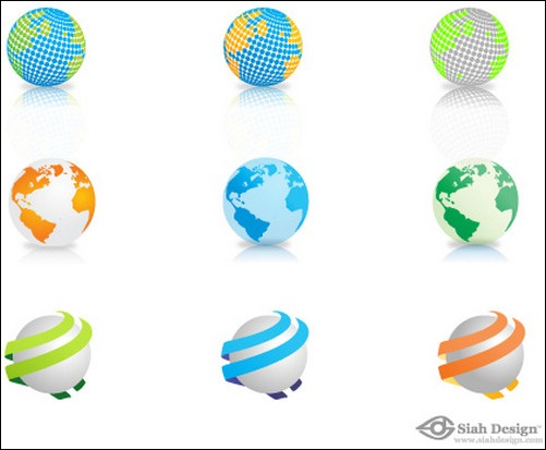 siah design nine vector globes world map