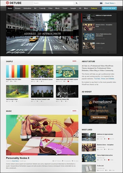 detube video wordpress theme