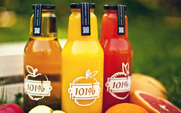 one hundred one percent juice bottles