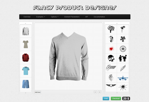 Fancy Product Designer, dragNdrop plugins