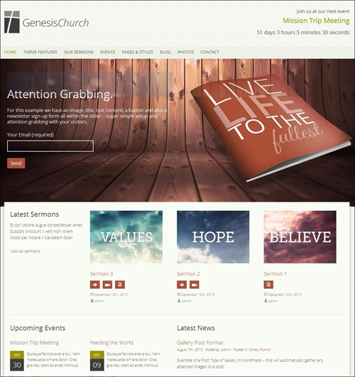 genesis church websites templates