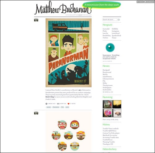 Matthew Buchanan Creative Tumblr Blog Designs